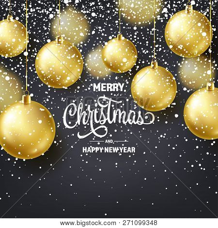 Christmas Background With Tree Balls And Snow. Golden Ball. New Year. Winter Holidays. Season Sale D