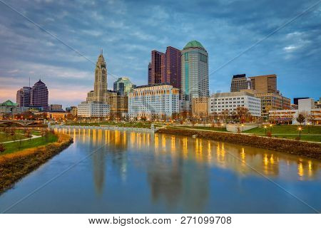 Columbus, Ohio along the Scioto River at sunset.  This is the most popular skyline view of this capital city.