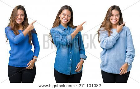 Collage of beautiful young woman over isolated background cheerful with a smile of face pointing with hand and finger up to the side with happy and natural expression on face