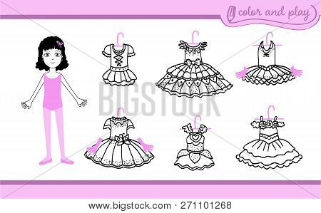 Little Ballet Dancer Girl. Dress Up Paper Doll In Cartoon Style With Ballet Tutus. Color, Cut And Pl