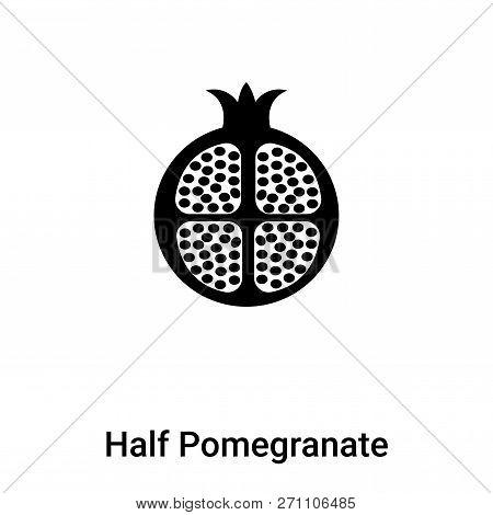 Half Pomegranate Icon In Trendy Design Style. Half Pomegranate Icon Isolated On White Background. Ha