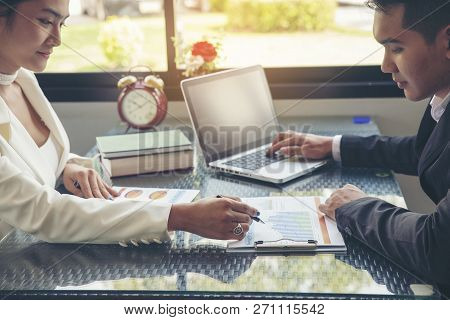 Business And Finance Planning Concept.financial Adviser Planning And Working On Laptop,businessman T