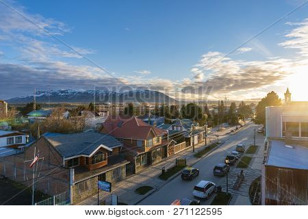 Puerto Natales, Chile - Sep 21, 2018: View Of The Town Puerto Natales At Sunrise. It Is The Gateway