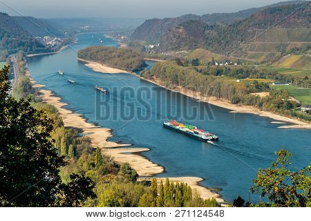 Drought In Germany, Low Water Of The Rhine River In Andernach Near Koblenz Influending Water Transpo