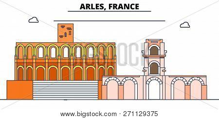 Arles, Roman And Romanesque Monuments Line Travel Landmark, Skyline, Vector Design. Arles, Roman And