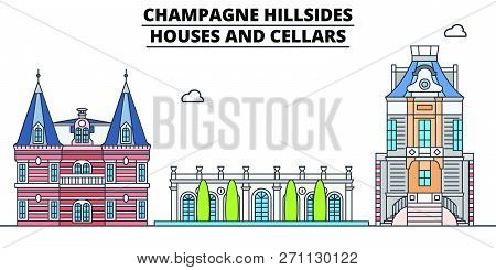 Champagne Hillsides - Houses And Cellars  Line Travel Landmark, Skyline, Vector Design. Champagne Hi