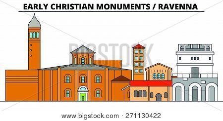 Early Christian Monuments - Ravenna  Line Travel Landmark, Skyline, Vector Design. Early Christian M