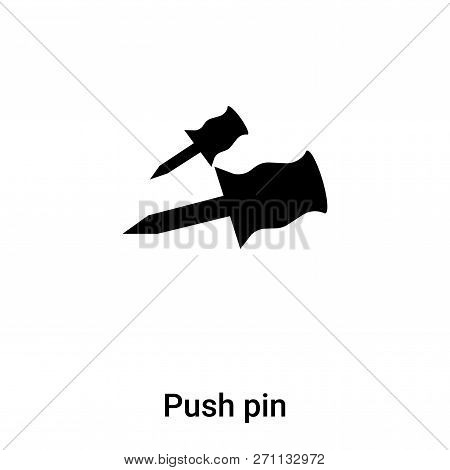 Push Pin Icon In Trendy Design Style. Push Pin Icon Isolated On White Background. Push Pin Vector Ic