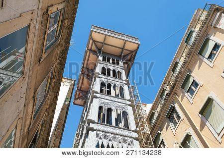 Fragment Of The Santa Justa Lift In The Afternoon, Lisbon, Portugal