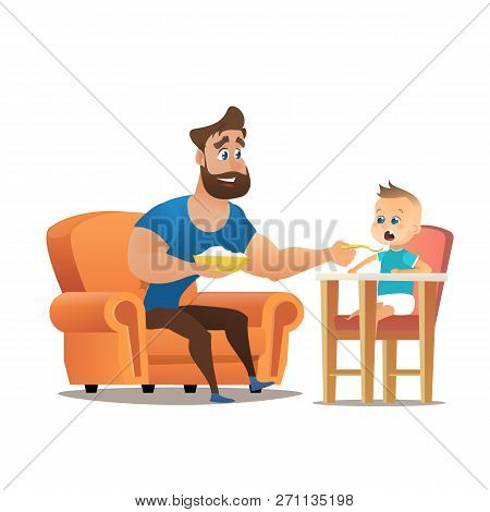 Vector Cartoon Illustration Concept Happy Father. Image Young Smiling Father Sitting In Chair, Feedi