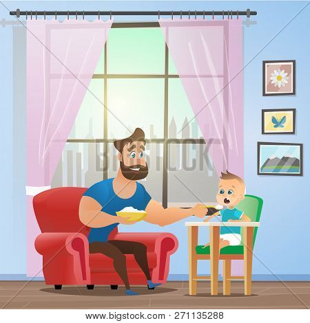 Vector Cartoon Illustration Concept Happy Father. Image Young Smiling Father Sitting In Red Chair, F