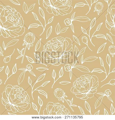 Floral Seamless Pattern With Hand Drawn Peonies
