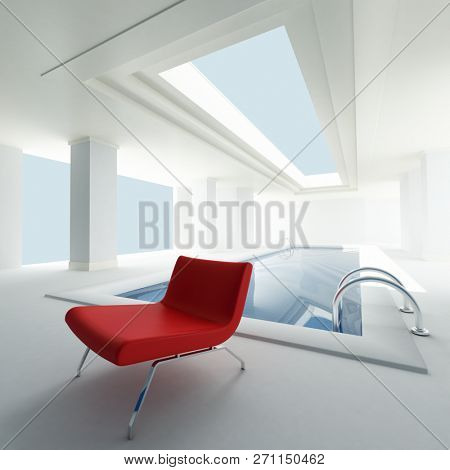 3D rendering of a interior private swimming pool with a contrasting red seat