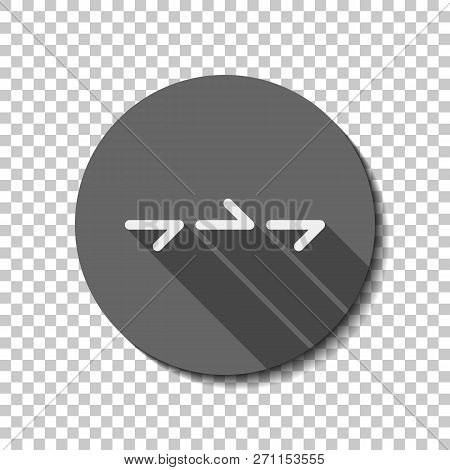Few Arrows, Same Direction. Linear, Thin Outline. Flat Icon, Long Shadow, Circle, Transparent Grid.