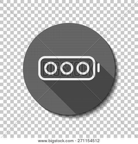 Simple Empty Battery, None Level. Flat Icon, Long Shadow, Circle, Transparent Grid. Badge Or Sticker