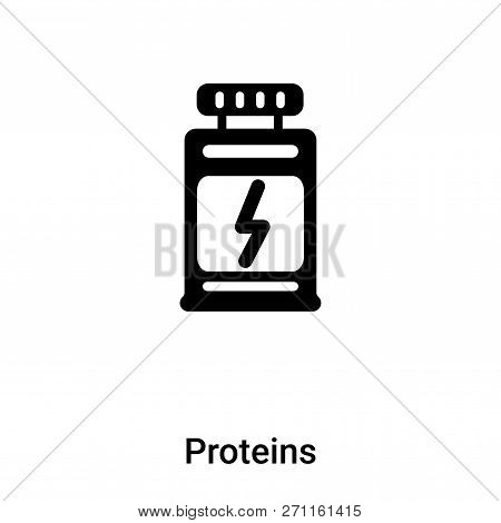 Proteins Icon In Trendy Design Style. Proteins Icon Isolated On White Background. Proteins Vector Ic
