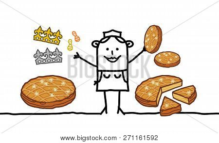 Cartoon Smiling Baker Woman Selling Epiphany Cakes