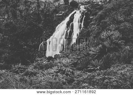 Beautiful Black And White Of Waratah Falls In Waratah, Tasmania.