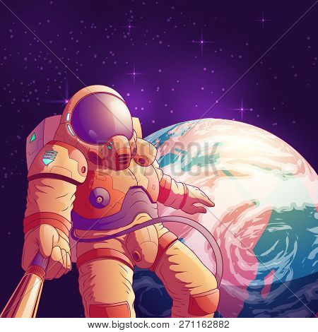 Selfie In Outer Space Cartoon Vector Illustration With Astronaut In Futuristic Spacesuit Making Port