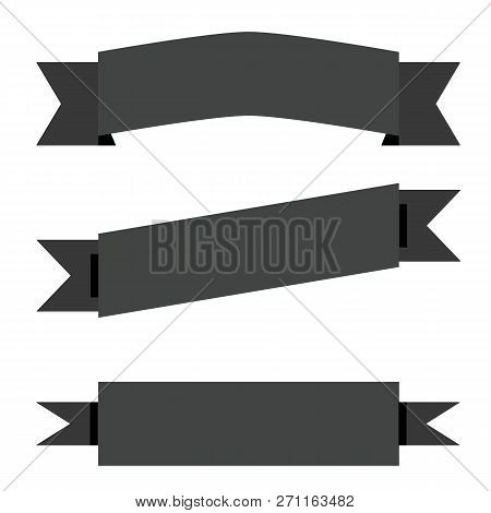Black Ribbon Banner On White Background. Flat Style. Ribbon Banner For Your Web Site Design, Logo, A