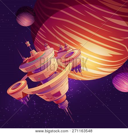 Futuristic starship, intergalactic space station or future orbital metropolis flying near gas giant planet with two natural satellites cartoon vector. Science fiction deep space cruise liner or colony poster