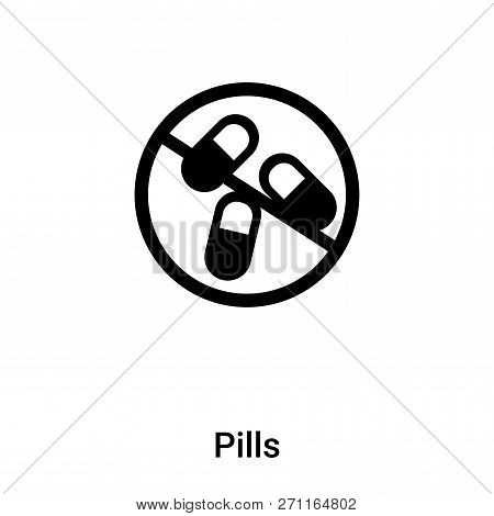 Pills Icon In Trendy Design Style. Pills Icon Isolated On White Background. Pills Vector Icon Simple