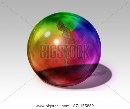 Cyborg man inside colorful crystal ball. 3D rendering