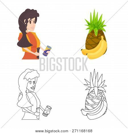 Isolated Object Of Food And Drink Logo. Set Of Food And Store Stock Vector Illustration.