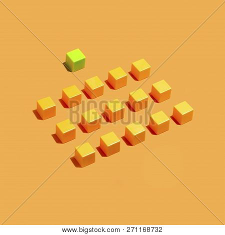 Rows Of Yellow Cubes On Yellow Background And One Green. Minimal Style. Symbolic Concept Of Conformi