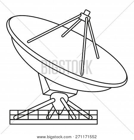 Line Art Black And White Radar Antena. Science Navigational Equipment. Media Theme Vector Illustrati
