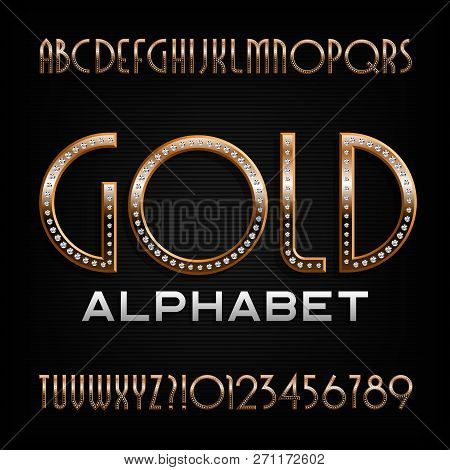 Ornate Gold Alphabet Font. Art Deco Golden Letters And Numbers With Diamond Gemstones. Stock Vector