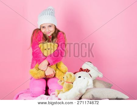 Kid Little Girl Play With Soft Toy Teddy Bear Pink Background. Teddy Bears Improve Psychological Wel