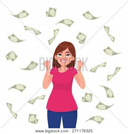 Cash / Money / Bank Notes /currency Bills Falling Around Successful Happy Young Business Woman Isola