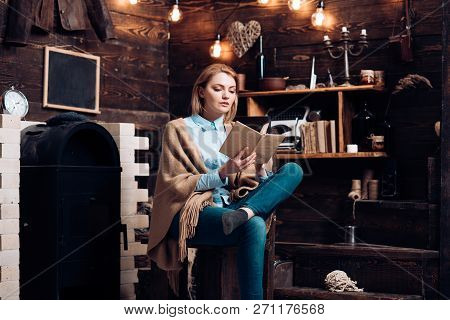 Reading For Her Own Enjoyment. Pretty Woman Read A Book. Woman Student Enjoy Reading Literacy. Stude