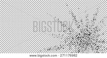 Scattered Dense Balck Dots. Dark Points Dispersion On Transparent Background. Bold Grey Spots Disper