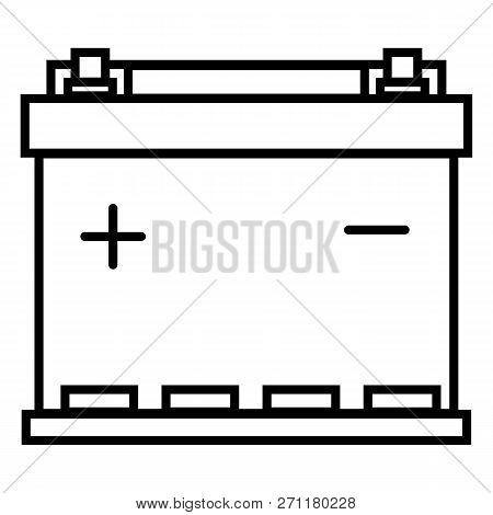 Vector Black Outline Icon - Car Battery. Automobile Accumulator