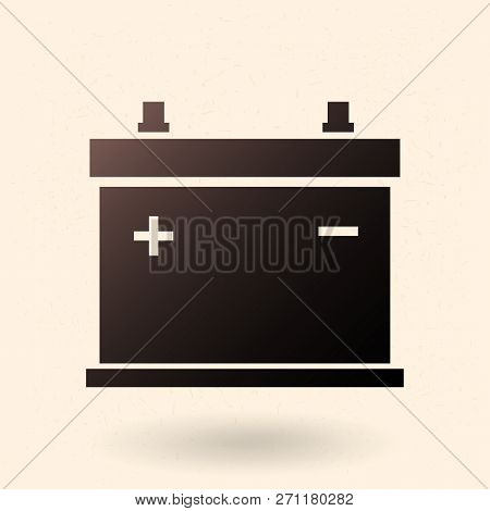 Vector Black Silhouette Icon - Car Battery. Automobile Accumulator