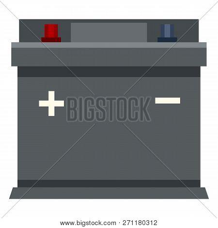 Vector Flat Color Icon - Gray Car Battery. Automobile Accumulator