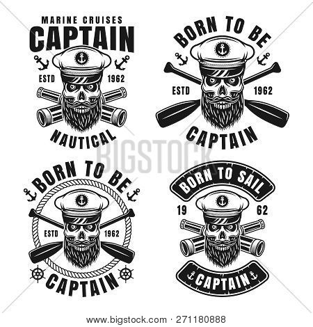 Set Of Four Nautical Emblems With Captain Bearded Skull In Skipper Hat Vector Illustration In Vintag