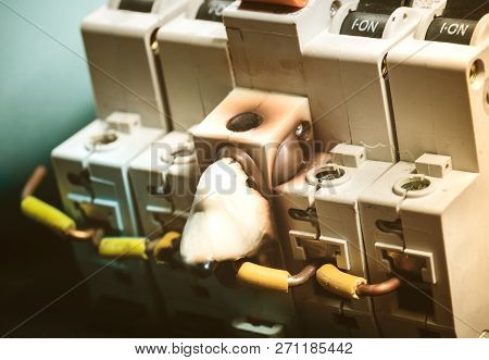 Burn and Melting Switch Fuse Disconnector with On Position. Concept of Overload Electrical Current and Electricity, Power, Fuse related poster