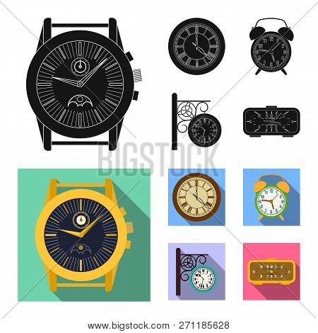 Vector Illustration Of Clock And Time Sign. Set Of Clock And Circle Stock Symbol For Web.