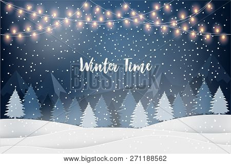 Winter Time. Holiday Winter Landscape For New Year Holidays With Firs, Light Garlands, Falling Snow.