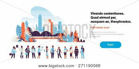 People Different Occupations Stay Together Communication Concept Cityscape Background Horizontal Man