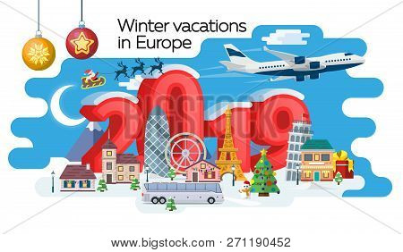 New Year And Winter Travel Banner. Christmas Travel, Europe Winter Town, Snow Village. Traveling By