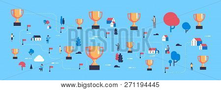 First Place Golden Trophy Cup Champion Success Map Isometric Successful Way Concept Businessperson G