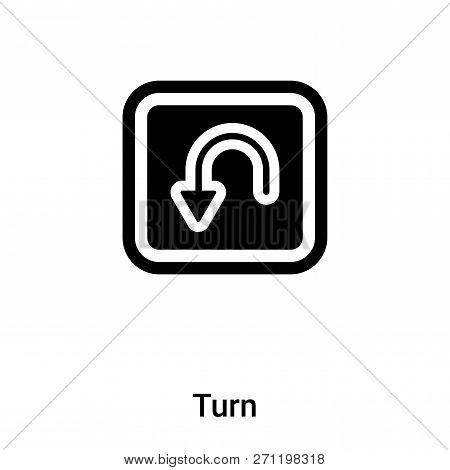 Turn Icon In Trendy Design Style. Turn Icon Isolated On White Background. Turn Vector Icon Simple An