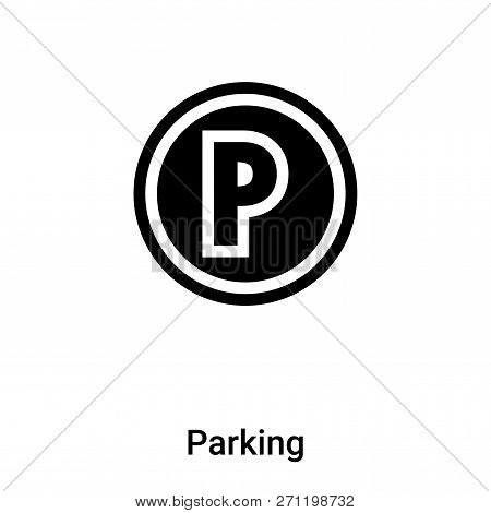 Parking Icon In Trendy Design Style. Parking Icon Isolated On White Background. Parking Vector Icon