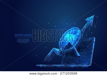 A Magnifying Glass And An Arrow Up On A Laptop Background. Low Poly Wireframe Vector Polygonal Illus