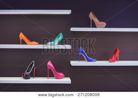 High-heeled Shoes In The Store. Shop Window With Shoes. Beautiful Multi-colored High-heeled Shoes. S