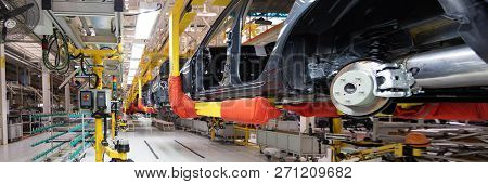 Automotive Production Line. Long Format. Wide Angle View Of Plant Of Automotive Industry. Can Be Use
